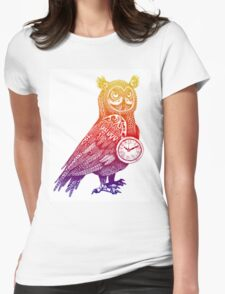 Great Horned Owl with Pocket Watch - Rainbow Womens Fitted T-Shirt