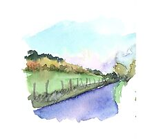 Sunset in Giverny Watercolor Photographic Print