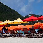 Beach Umbrellas in St. Maarten by Rosemary Sobiera