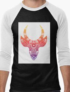 Deer with Horns - Zentangle Men's Baseball ¾ T-Shirt
