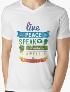 Live peace, speak kindness, dwell in possibility Mens V-Neck T-Shirt