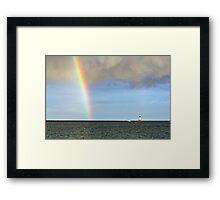 Rainbow and Conneaut Lighthouse Framed Print