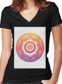 Circle Design - Rainbow Women's Fitted V-Neck T-Shirt