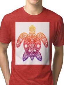 Rainbow Sea Turtle - Zentangle Tri-blend T-Shirt