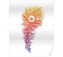 Rainbow Themed Zentangle Peacock Feather Poster