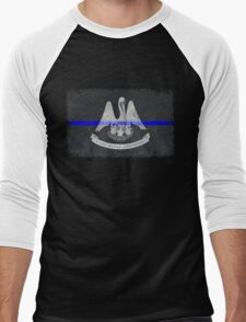 Louisiana Thin Blue Line State Flag Men's Baseball ¾ T-Shirt