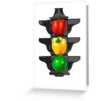 Bell Pepper Stop Light (Red, Green, Yellow) Greeting Card
