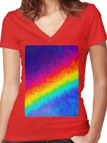 Rainbow in the Dark Women's Fitted V-Neck T-Shirt