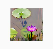 Purple water lily and lotus leaves on water T-Shirt