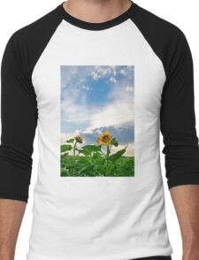 View of field with blooming sunflowers with sunset in background Men's Baseball ¾ T-Shirt