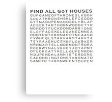 Game of Thrones Crosswords Canvas Print