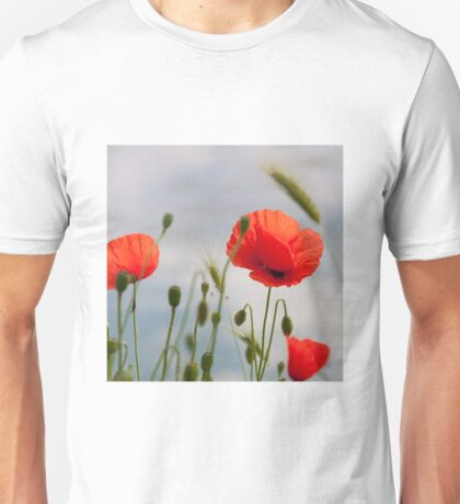 bright red corn poppy flowers in summer Unisex T-Shirt
