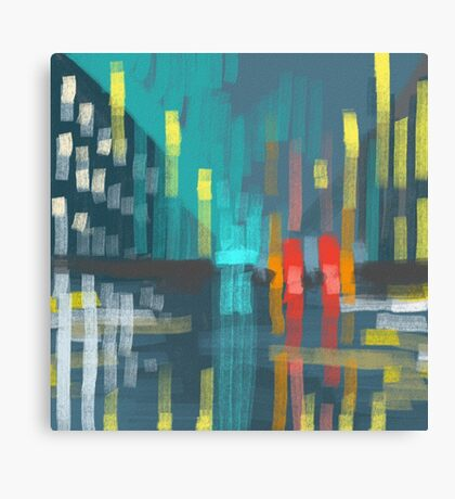 rain and city lights Canvas Print