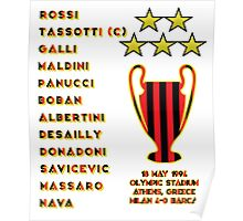 AC Milan 1994 Champions League Final Winners Poster
