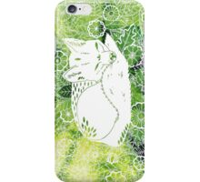 Zen Fox Green with Flower Pattern iPhone Case/Skin