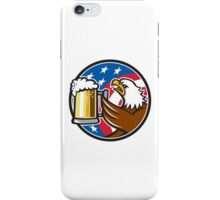 Bald Eagle Hoisting Beer Stein USA Flag Circle Retro iPhone Case/Skin