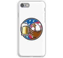 Bald Eagle Hoisting Beer Stein USA Flag Circle Retro iPhone Case/Skin