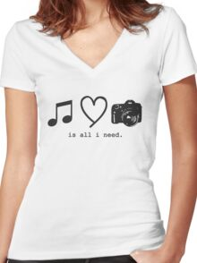 Music, Love, and Photography Women's Fitted V-Neck T-Shirt