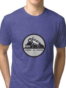 Steam Train Locomotive Star Circle Retro Tri-blend T-Shirt