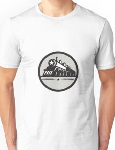 Steam Train Locomotive Star Circle Retro Unisex T-Shirt