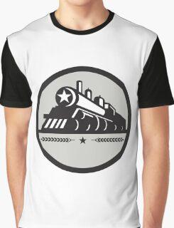 Steam Train Locomotive Star Circle Retro Graphic T-Shirt