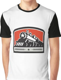 Steam Train Locomotive Star Crest Retro Graphic T-Shirt