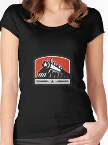 Steam Train Locomotive Star Crest Retro Women's Fitted Scoop T-Shirt