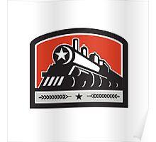 Steam Train Locomotive Star Crest Retro Poster