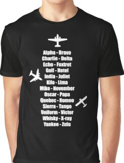 Pilot Phonetic Alphabet Military Cadet Airplanes Graphic T-Shirt