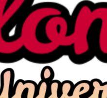 Elon University - Maroon Cursive With Acorn Text Sticker