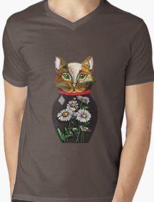Daisy, Russian doll tattoo style cat Mens V-Neck T-Shirt