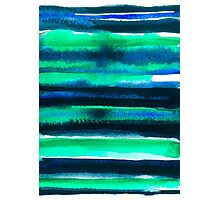 Abstract blue green and black watercolor painting pattern Photographic Print