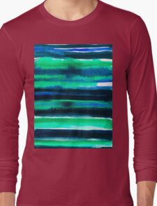 Abstract blue green and black watercolor painting pattern Long Sleeve T-Shirt