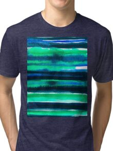 Abstract blue green and black watercolor painting pattern Tri-blend T-Shirt