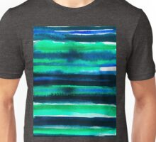 Abstract blue green and black watercolor painting pattern Unisex T-Shirt