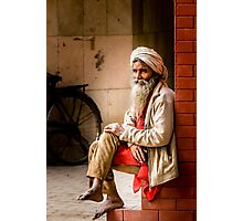 Old Indian man in turban Photographic Print
