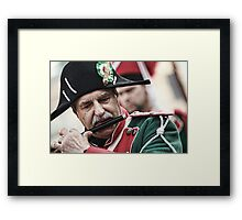 man plays the flute in marching band Framed Print