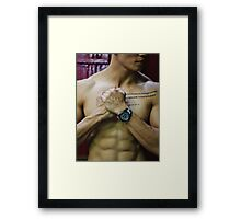 Male torso with strong abs Framed Print