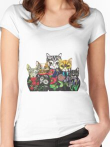 Cat Russian doll family Women's Fitted Scoop T-Shirt