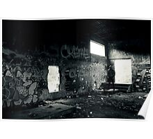 Athletic man in a abandoned place Poster