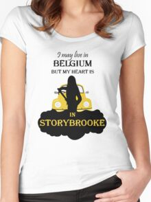 I May Live In Belgium, But My Heary Is in Storybrooke. OUAT. Women's Fitted Scoop T-Shirt