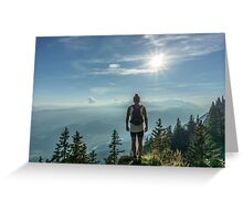 Adventurer on the tops mountain  Greeting Card