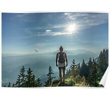 Adventurer on the tops mountain  Poster