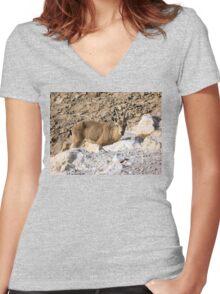 Mountain little goat Women's Fitted V-Neck T-Shirt