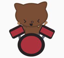 Kawaii Drummer Cat Kids Clothes