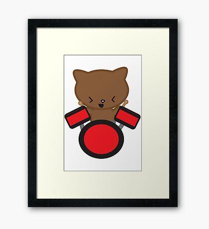 Kawaii Drummer Cat Framed Print