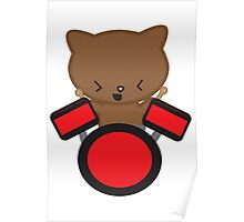 Kawaii Drummer Cat Poster