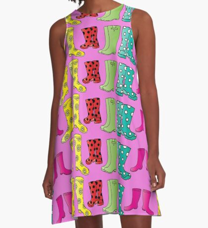 Colourful Wellington Boots Festival Fun Design A-Line Dress
