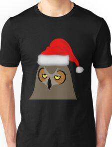 Funny Annoyed Owl Wearing a Christmas Hat Unisex T-Shirt