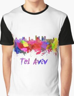 Tel Aviv skyline in watercolor Graphic T-Shirt